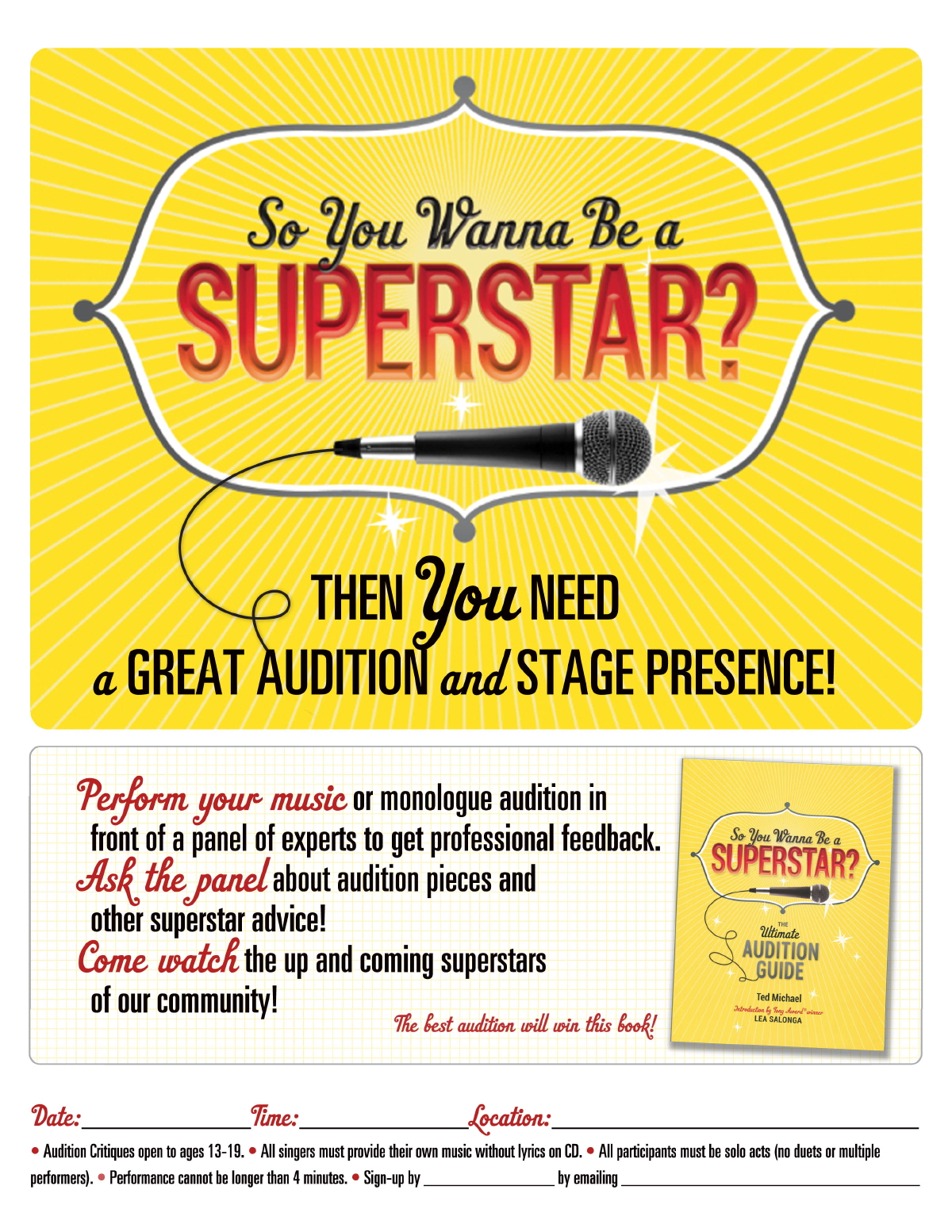 So You Wanna Be A Superstar Audition Event Kit For Libraries